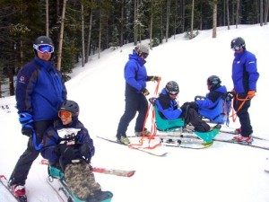 Zach and his competitors preparing for their ski race